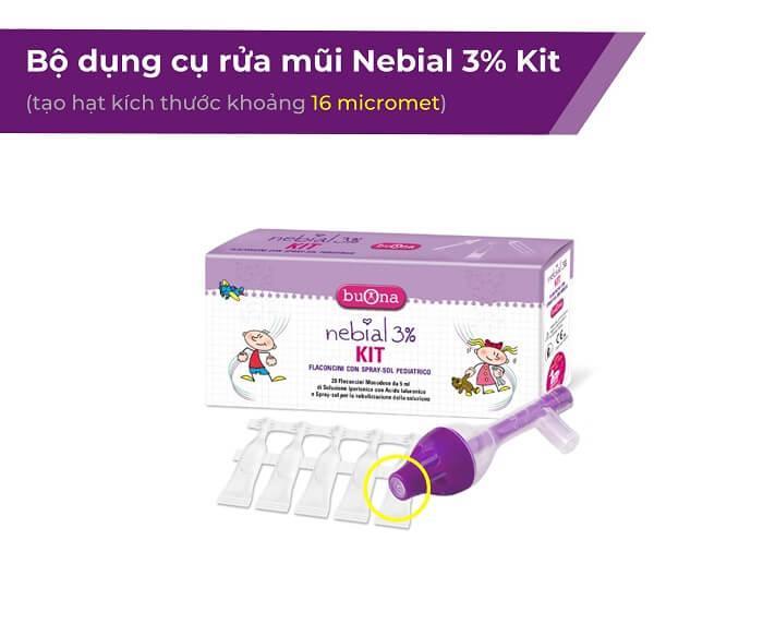 Rửa mũi tại nhà cho trẻ với Nebial 3% Kit
